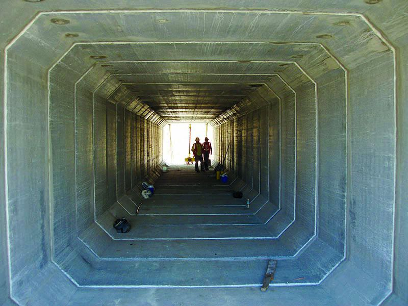 Inside the concrete box culvert